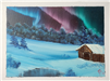 Painting of a Cabin under Aurora Borealis