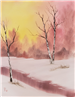 Painting of a Sunrise on a Winter Morning