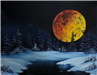 Paining of a Large Harvest Moon in the Middle of the Night