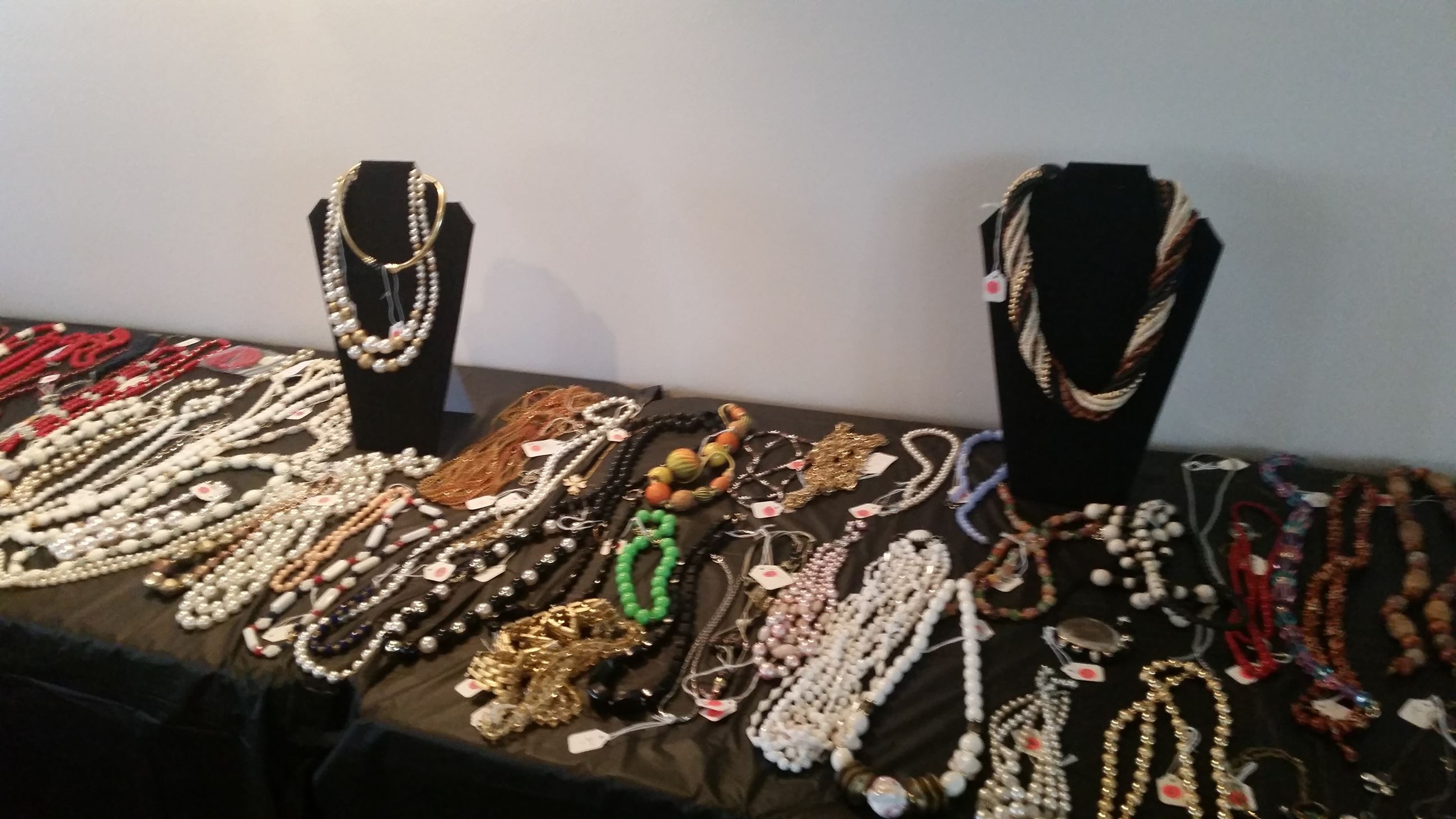 Table displaying jewelry pieces