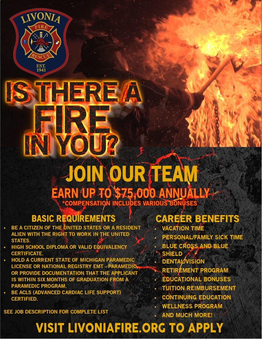 Livonia Fire Department Hiring Flyer