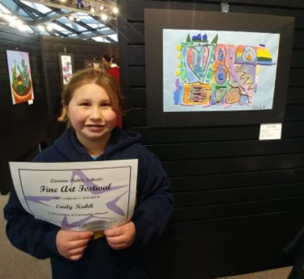Girl Holding Fine Art Festival Certificate by Art