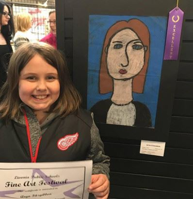 Girl Holding Fine Art Festival Certificate by Art with an Excellent Ribbon